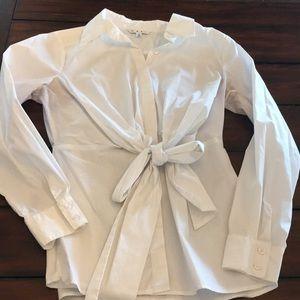 White crisp cotton top with bow waist